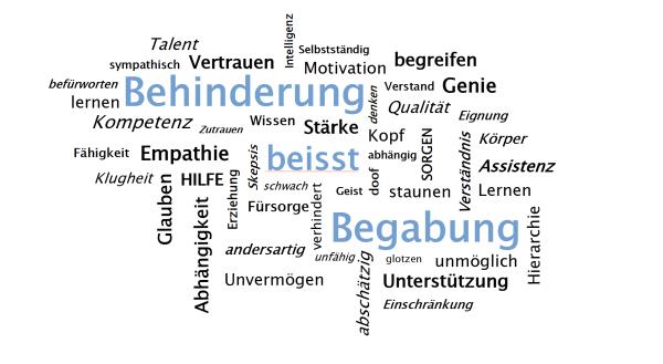 Im Bild sind viele diverse Begriffe um die Worte 'Behinderung beisst Begabung' versammelt. Während alle Worte in schwarzer Schrift gehalten sind, sind die Worte 'Behinderung beisst Begabung' in blau zu sehen und stechen aus dem Bild hervor
